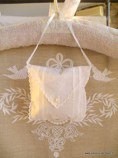 Small sachet of hand embroidered organza with lavender
