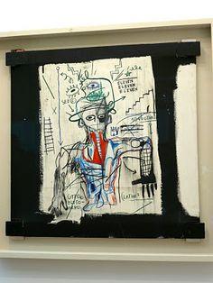 Jean-Michel Basquiat, Santo # 1 1982 Óleo, acrílico, lápiz de color, collage sobre lienzo con soporte de madera expuesta 92 x 92 cm