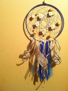 This is one of my favorites. It all came together so well. :) In the Navy Dream (name inspired by a Village People song) dream catcher has a mixture of natural and blue elements, Village People, Dreamcatchers, Tangled, Yellow, Blue, Navy, Inspired, My Favorite Things, Natural