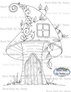 This is for the black and white line art digi stamp only.You may use the images to create and sell handmade/colored cards and projects; please give credit to *Sherri Baldy* for the image used in the project or product.****What I ask: Please do not *redistribute*, *share*, *duplicate*, *re-sell*, or *copy* any of my digi doodle stamp images.********Please do not post them online except as part of a project (i.e., card, scrapbook demo, project you created etc.).****NOTE Color Image not Art Drawings For Kids, Doodle Drawings, Easy Drawings, Doodle Art, Colouring Pages, Adult Coloring Pages, Coloring Books, Painting Templates, Mushroom Art