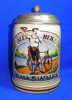 Antique German Lidded Beer Stein Tin Top Bikerider Bicycle 1920 1/2 L Rare #XX
