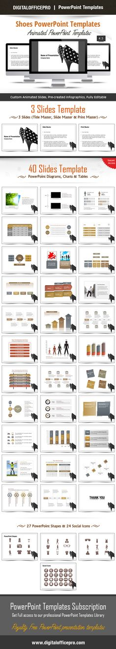 Impress and Engage your audience with Shoes PowerPoint Template and Shoes PowerPoint Backgrounds from DigitalOfficePro. Each template comes with a set of PowerPoint Diagrams, Charts & Shapes and are available for instant download.