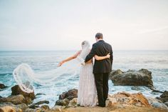 Beautiful veil photo - Bohemian Coastal Wedding at Terranea Resort captured by Rebecca Fishman, Birds Of A Feather
