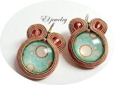 El jewelry: kolczyki pudrowy róż z turkusem