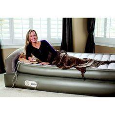 aerobed queen air mattress with headboard and flocked pattern sleep surface design