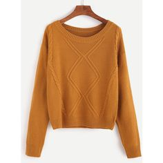 SheIn(sheinside) Khaki Drop Shoulder Cable Knit Sweater (1.010 RUB) ❤ liked on Polyvore featuring tops, sweaters, knit, khaki, cable knit sweater, sweater pullover, cable pullover, round neck sweater and cable knit pullover sweater