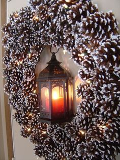 pinecone wreath + lantern