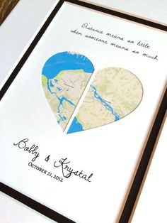 Long Distance Relationship Gift -Map Art Heart by HandmadeHQ