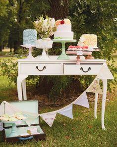 Whimsical dessert table #vintagewedding #outdoorwedding #weddingideas #dessertbar #desserttable