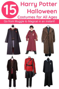 Go from Muggle to magical in an instant with these brilliant Harry Potter Halloween costumes, including some super high-quality cosplay costumes that will last a lifetime! Nerd Costumes, Harry Potter Halloween Costumes, Childrens Halloween Costumes, Vampire Costumes, Toddler Costumes, First Halloween, Halloween Looks, Adult Costumes, Cosplay Costumes