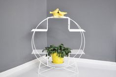 MidCentury Circular Wire Plant Stand by thewhitepepper on Etsy
