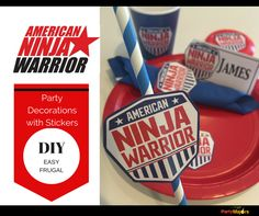 American Ninja Warrior Party Decorations - DIY with Stickers