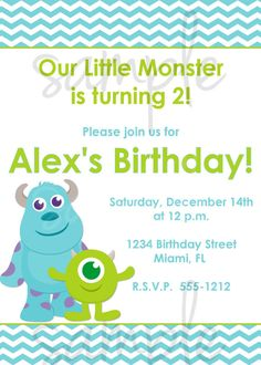 Hey, I found this really awesome Etsy listing at https://www.etsy.com/listing/167935276/monster-inc-birthday-invitation-inspired