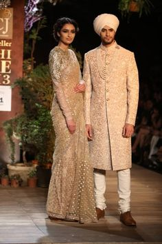 ~ Living a Beautiful Life ~ Delhi Couture Week 2013 Photos – Sabyasachi gold ivory sari sherwani Indian Groom Wear, Indian Attire, Indian Outfits, Indian Wear, Groom Outfit, Groom Dress, Men Dress, Dress Shoes, Shoes Heels