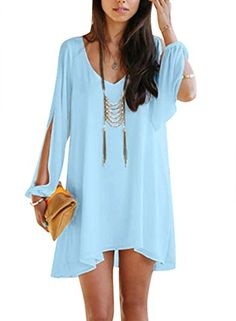 Viwenni Sexy Womens VNeck Loose Irregular Hem Summer Chiffon Short Beach Dress >>> Click on the image for additional details. (Note:Amazon affiliate link)