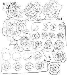 """""""かとうんち風オールドローズの描き方。 課題のプリント作っていったのに、午後の授業の前に紛失するという…すまーん。一応テンプレートはあったら楽だけど、最初はリアルに薔薇見ながら描くのが良いと思います。"""""""