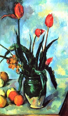 """Paul Cézanne (French, Post-Impressionism, 1839–1906): Tulips in a Vase, 1892. Oil on canvas, 72.5 x 42 cm. Norton Simon Museum, Pasadena, California, USA.    """"Painting from nature is not copying the object; it is realizing one's sensations."""" (Paul Cézanne)"""