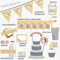 Imprimible Unicornio amarillo Calendar, Holiday Decor, Kit, Home Decor, Garlands, Decorations, Unicorn Party, Chopsticks, Happy Birthday