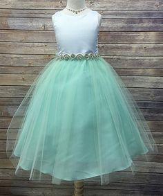 Loving this Mint Satin & Tulle Rhinestone Dress - Toddler & Girls on #zulily! #zulilyfinds