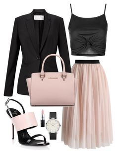 """""""Tulle outfit for a summer wedding"""" by hugmyheart on Polyvore featuring Chicwish, HUGO, Topshop, Giuseppe Zanotti, Michael Kors and MAC Cosmetics"""