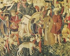 Detail from one of the Hunting the Unicorn tapestry
