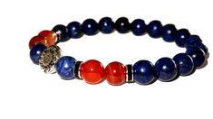 Indigo, Buddha, Beaded Bracelets, Etsy Shop, Jewelry, Fashion, Stone Bracelet, Man Bracelet, Paint Metal