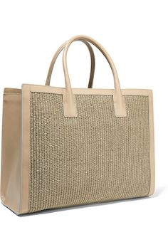 Beige straw, mushroom leather (Goat)  Magnetic fastening at open top Designer color: Taupe  Comes with dust bag Weighs approximately 3.1lbs/ 1.4kg Made in Italy