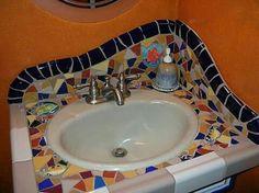 mosaic bathroom sink in 2020 Mosaic Crafts, Mosaic Projects, Mosaic Art, Mosaic Glass, Mosaic Tiles, Tiling, Mosaic Bathroom, Mosaic Backsplash, Bathroom Basin