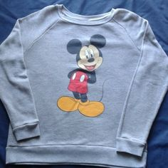 """Reposh Gray Micky Mouse Sweatshirt Gray Long Sleeve Micky Mouse Sweatshirt Juniors XL  Measurements: Pit To Pit 21"""" Length From Shoulder To Bottom 25"""" Sleeve Length From Shoulder To Cuff 27"""" Runs On The Small Size For An XL. Disney Tops Sweatshirts & Hoodies"""