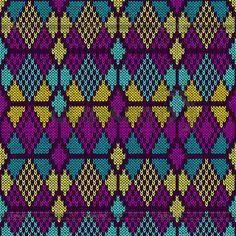 스타일 원활한 니트 Pattern.Blue 보라색, 노란색   벡터 클립 아트   ID 4615629