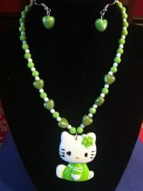 Green Hello Kitty Fashion Necklace and Earring Set for Girls Free Ship / No Slice