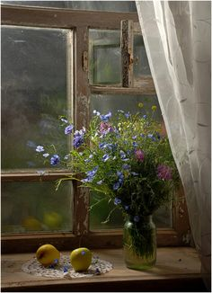 a country bouquet on the windowsill