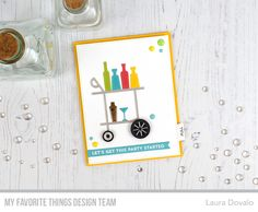 The MFT July Release Countdown party continues with an interactive clean and simple card featuring the cool Cocktail Hour Die-namics set. Birthday Greetings, Birthday Wishes, Cocktail Drinks, Cocktails, 15th Wedding Anniversary, Mft Stamps, Greeting Cards Handmade, Happy Hour, Cocktail