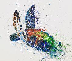 Turtle Print Turtle Art Tropical Art Home decor Art Turtle Sea Life Art, Sea Art, Watercolor Whale, Watercolor Design, Sea Turtle Art, Turtle Painting, Cartoon Girl Drawing, Tropical Art, Fish Art