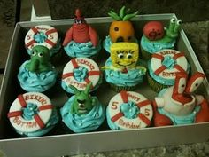 Life on Christy Street: Once Upon a Cupcake. Mini Cakes, Cupcake Cakes, Cupcake Ideas, 2nd Birthday, Birthday Parties, Birthday Ideas, Sponge Bob Cupcakes, Frog Princess, Cute Cupcakes