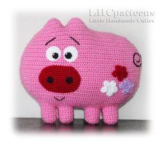 Pig Cushion Baby Pillow Crochet Pattern Crochet pattern by Kristine Kuluka Crochet Alphabet, Crochet Letters, Crochet Pig, Crochet Home, Baby Pillows, Kids Pillows, Pattern Cute, Cute Cushions, Cute Pigs