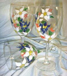Hand Painted Alpine Flower Wine Glasses (Sold in Pairs). $35 Via Etsy!!