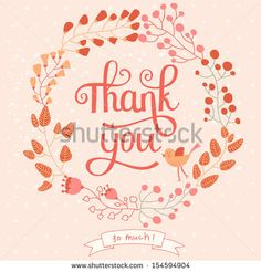 Thank you card in pink colors. Stylish floral background with text and cute cartoon bird in vector - stock vector