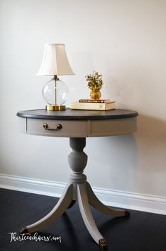 Drum Table painted with Annie Sloan French Linen with top painted with Graphite…