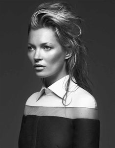 kate moss in black and white