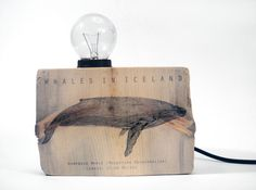 Driftwood table lamp with Humpback whale illustration. Unique Table Lamps, Rustic Lamps, Wood Lamps, Lamp Table, Diy Outdoor Furniture, Cheap Furniture, Whale Illustration, Driftwood Table, Humpback Whale