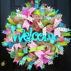 Bright Turquoise Welcome Deco Mesh Wreath by CharmingDoorDesigns
