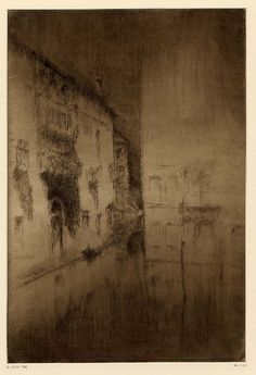 """James McNeill Whistler, Nocturne Palaces, etching -  - (Syracuse University Art Collection, viewed as part of An American in Venice: James McNeill Whistler and His Legacy"""" at the Arkell Museum, Canajoharie, NY)"""