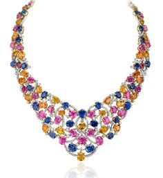 Andreoli ~ Multi-coloured necklace with sapphires and diamonds