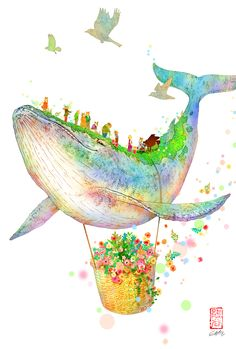 Animes Wallpapers, Cute Wallpapers, Ocean Illustration, Whale Drawing, Soft Pastel Art, Whale Art, Colorful Drawings, Psychedelic Art, Whimsical Art
