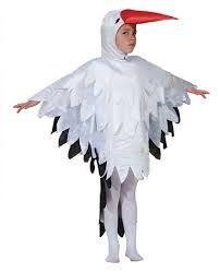 costume of the stork w/ material in beak that hangs down to carry baby