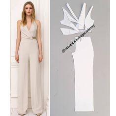 """To do Add long sleeves patternDrafting tutorial 💃🏽 So in this tutorial i show you how to draft the elegant jumpsuit in the picture. It so so easy, as you can…"""" Dress Sewing Patterns, Blouse Patterns, Clothing Patterns, Fashion Sewing, Diy Fashion, Fashion Dresses, Pattern Draping, Sewing Blouses, Modelos Fashion"""