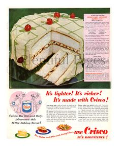 1951 Crisco Vintage Ad 1950's Baking 1950's by PlentifulPages
