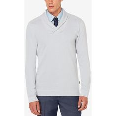 Perry Ellis Men's Almont Shawl-Collar Sweater ($70) ❤ liked on Polyvore featuring men's fashion, men's clothing, men's sweaters, alloy heather, mens shawl collar sweater, mens sweaters and mens ties