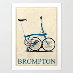 Brompton Bike Art Print by Wyatt Design - $16.00